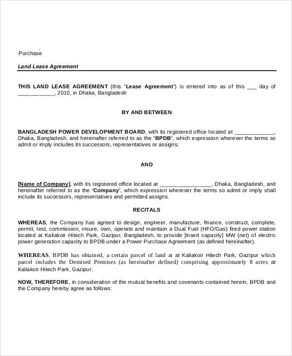 Land Lease Purchase Agreement Form