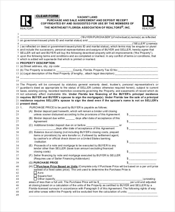 Land Purchase Sale Agreement Form  Free Purchase Agreement Form