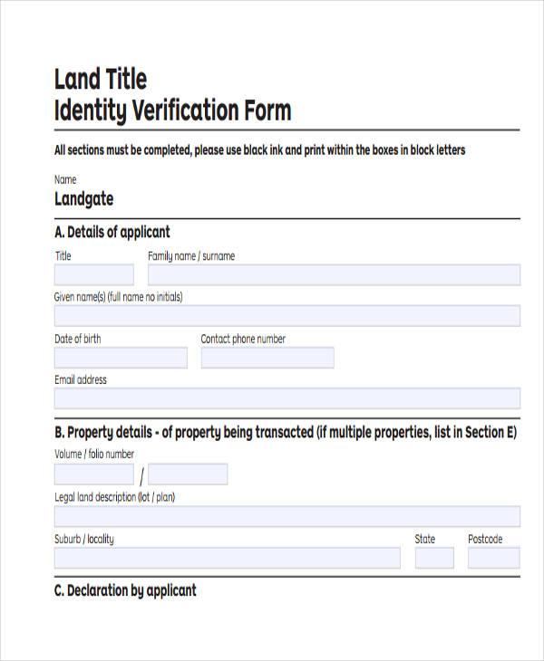 Verification Forms In Pdf