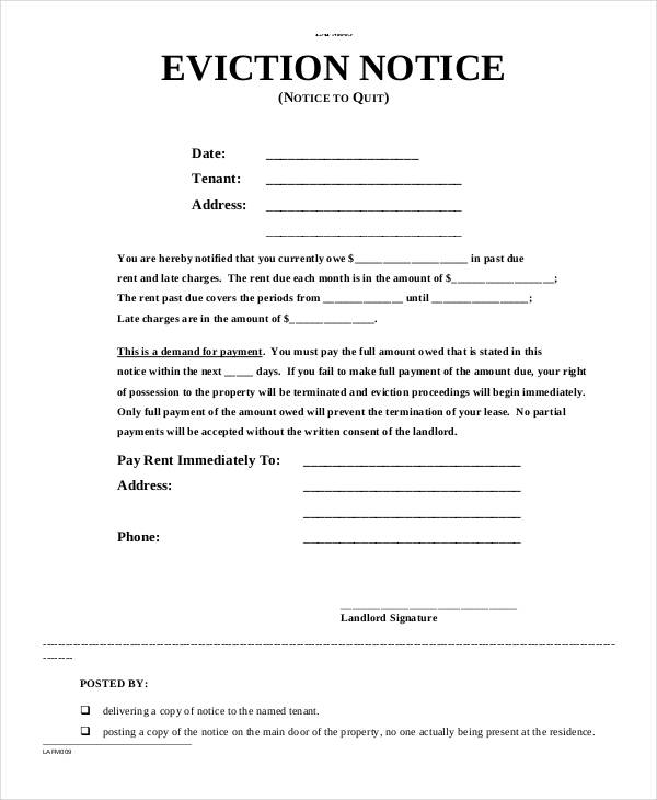 Notice Form Template