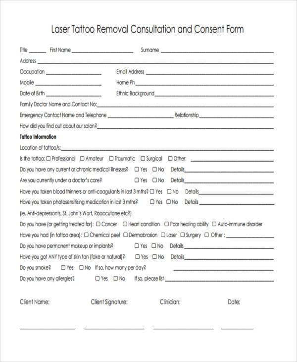 Consent form templates for Tattoo release form template