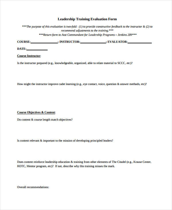 Sample Training Evaluation Form