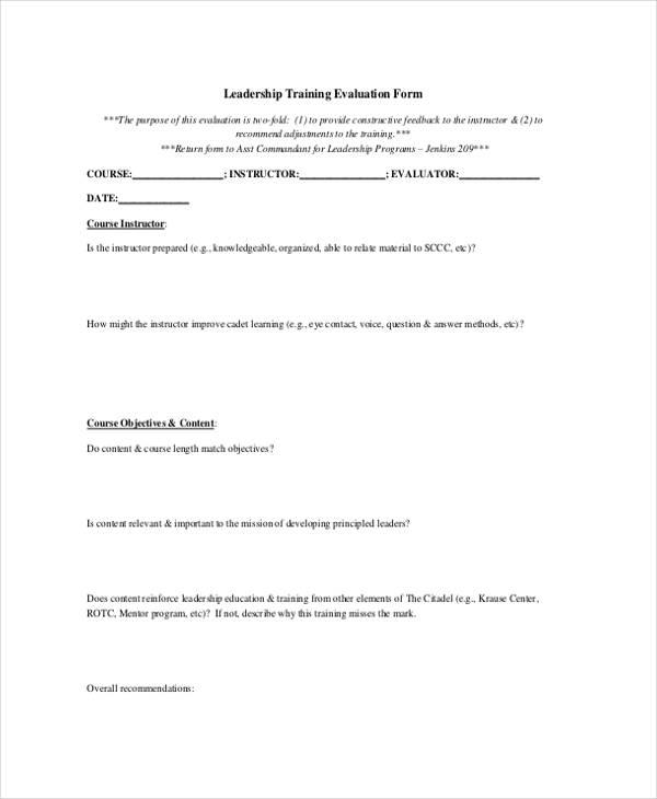 leadership skills training evaluation form