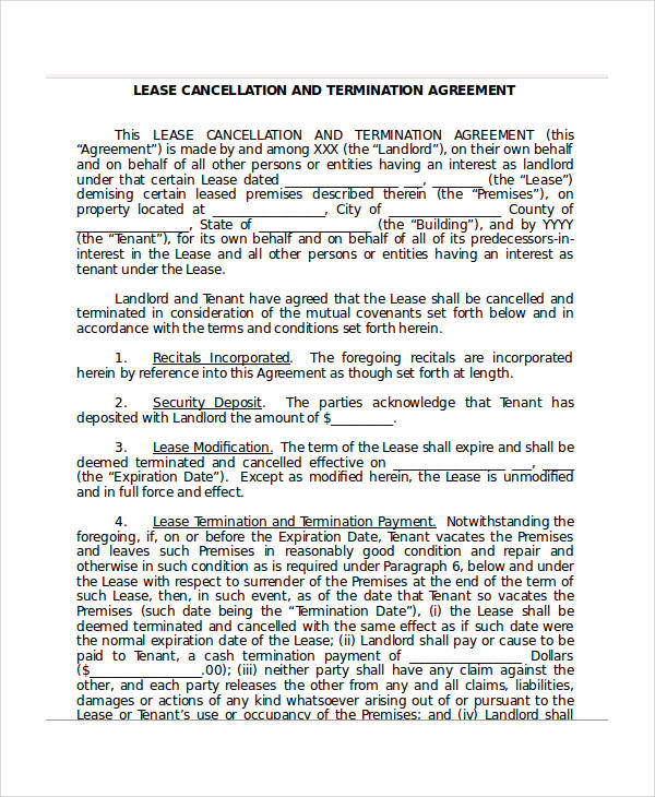 lease cancellation termination agreement form