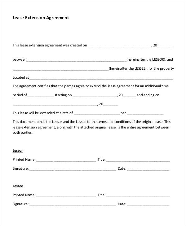Lease Agreement Form Template – Lease Extension Agreement