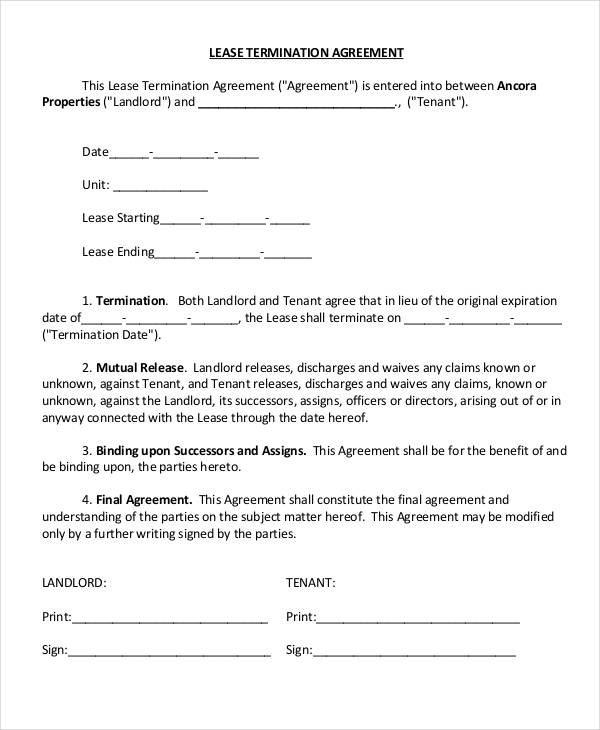Lease Termination Agreement Template Editable Rental Termination