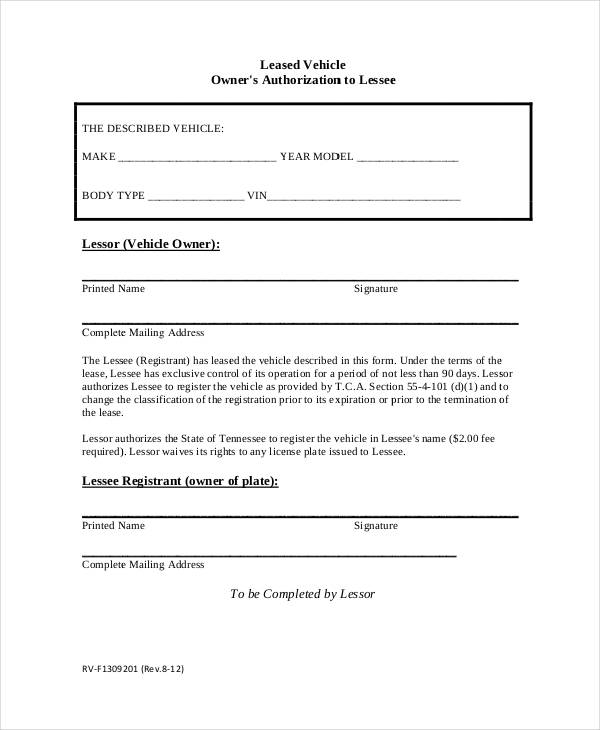 leased vehicle authorization form