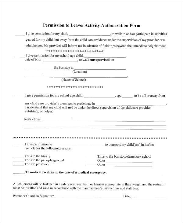 leave activity authorization form in pdf