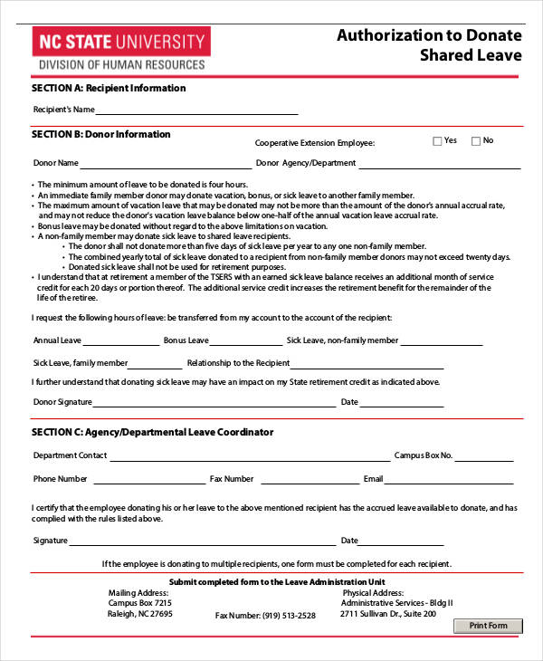 leave donation authorization form