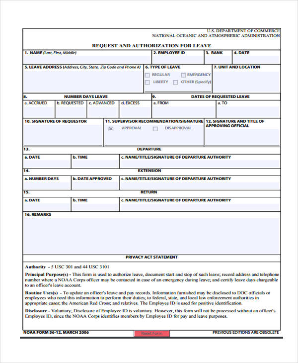 10 Leave Authorization Form Sample Free Sample Example Format – Example of Leave Form