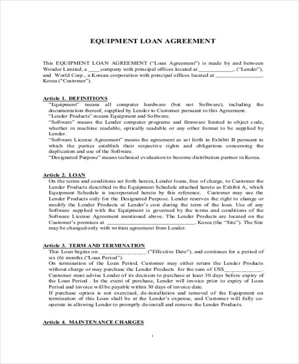 legal loan agreement sample
