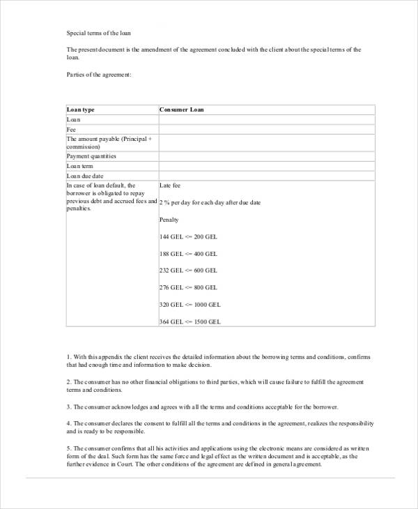 Free Loan Agreement Form – Loan Contract Example