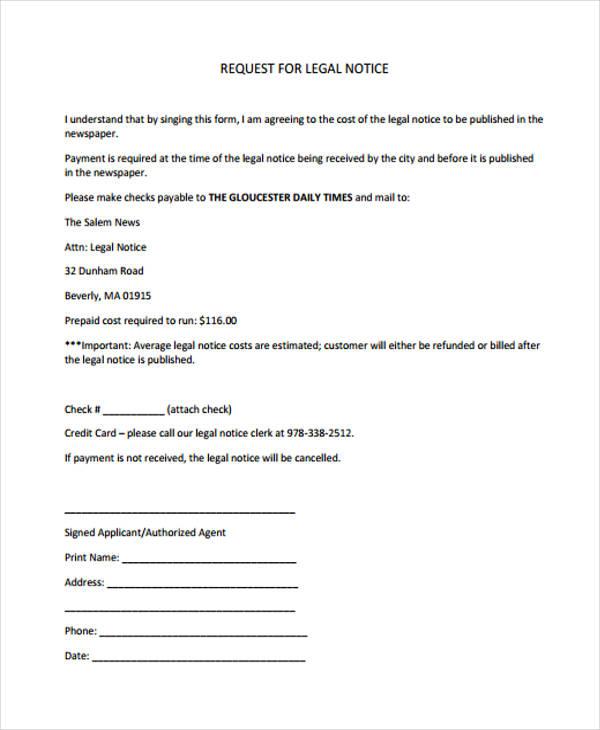 legal notice request form