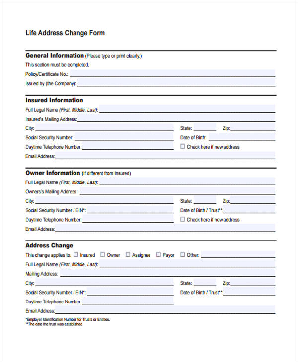 Life Address Change Form  Address Change Form Template