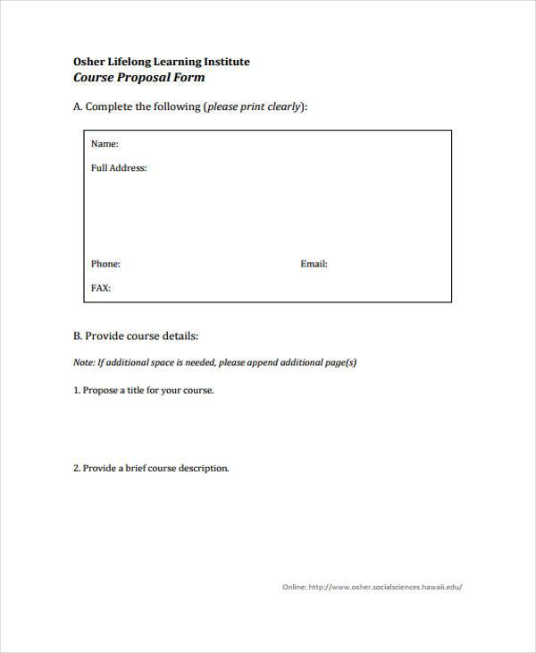 life long learning course proposal form