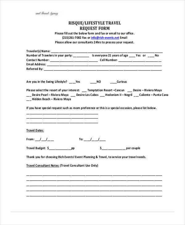 lifestyle travel request form