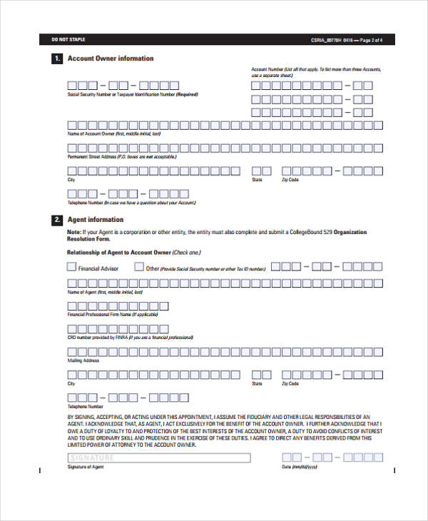 limited power of attorney financial form