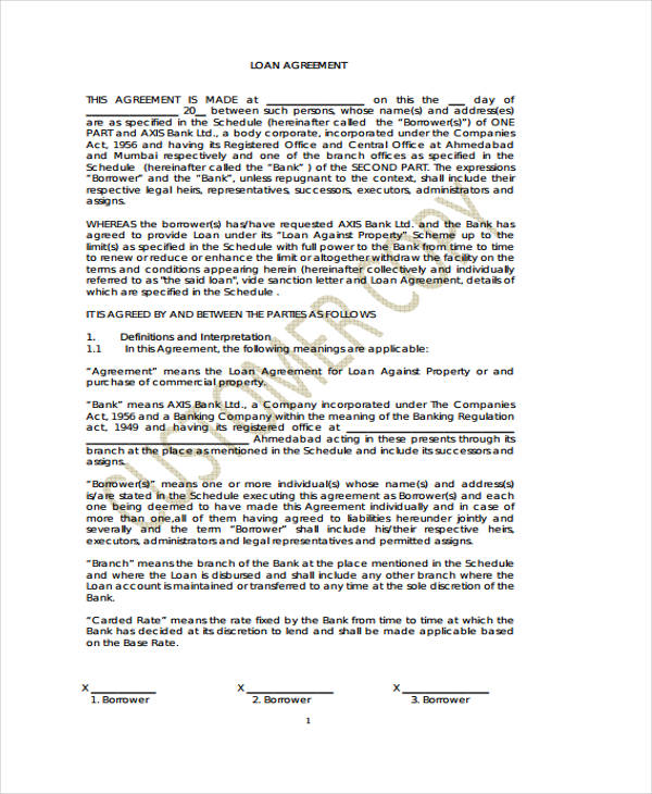 loan agreement form example 65 free documents in word pdf
