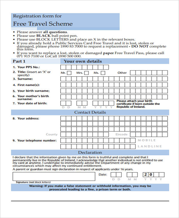lost travel pass form