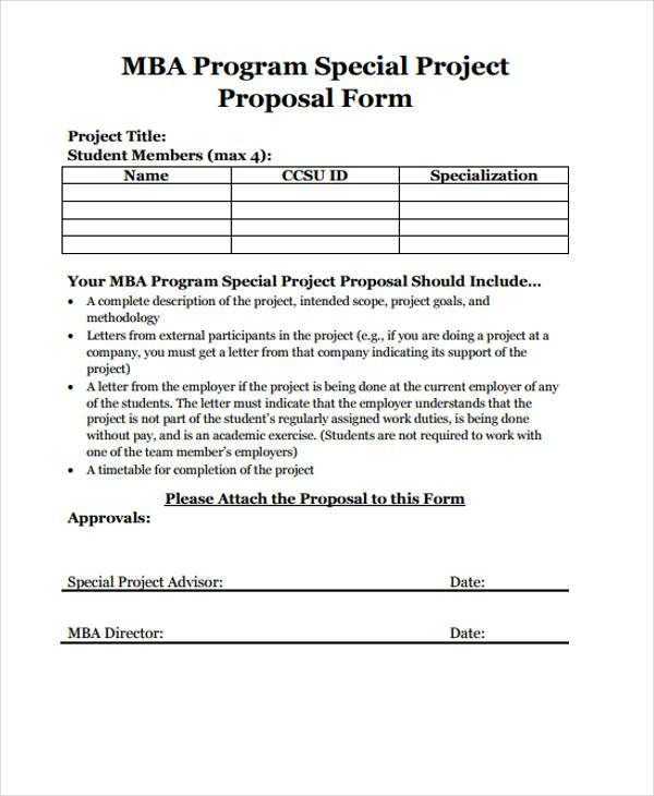mba program project proposal form