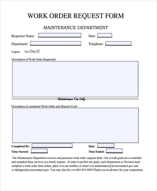 22 Work Order Form Template – Maintenance Work Order Form
