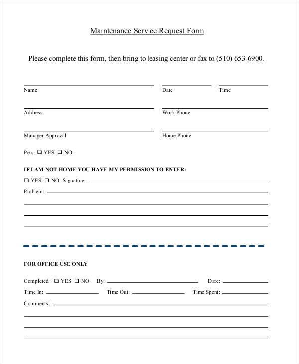 maintenance service request form