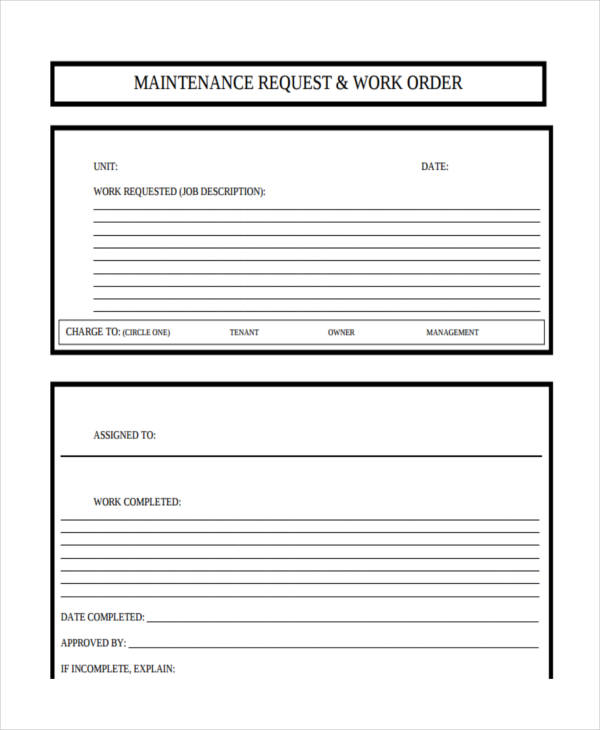 Gargantuan image throughout printable maintenance work order forms