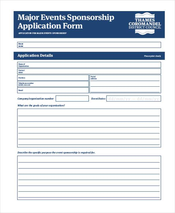 major events sponsorship application form