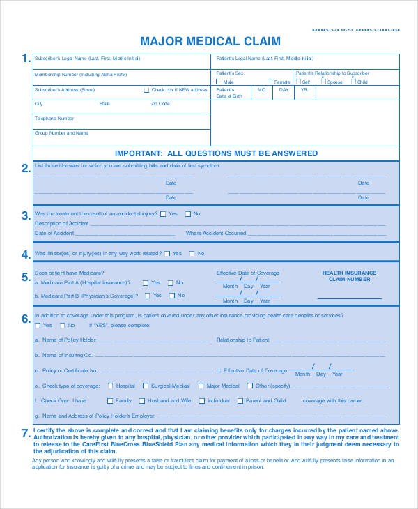 major medical claim form2