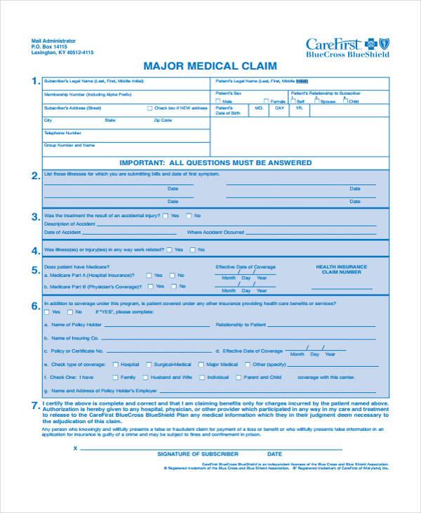 major medical claim form4