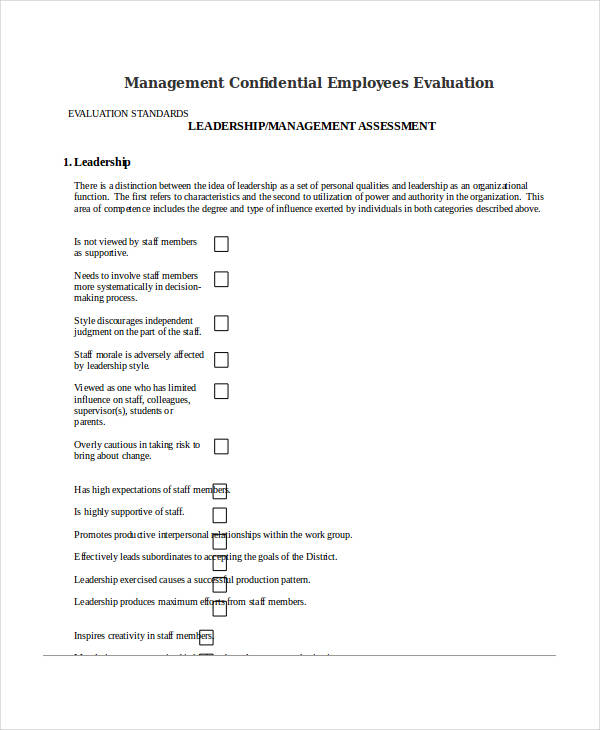 management confidential employees evaluation form