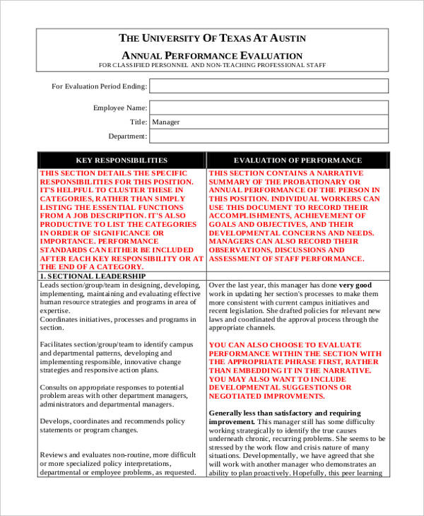 manager annual employee evaluation form