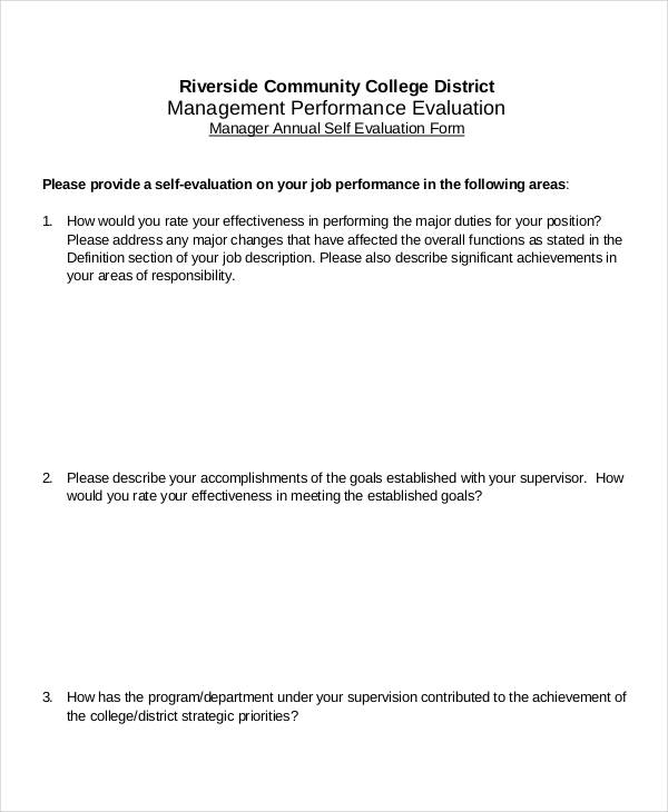 manager annual self evaluation form