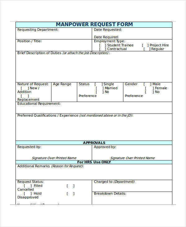 request manpower sample  32  Requisition Forms in Doc