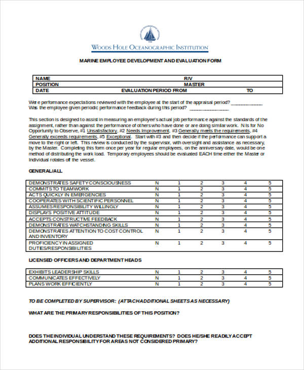 marine employee development evaluation form