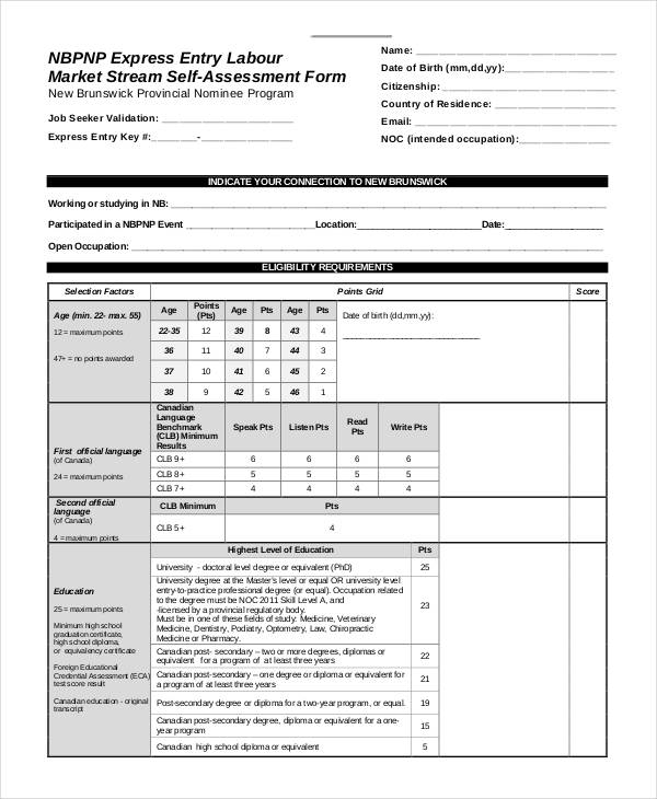 market stream self assessment form