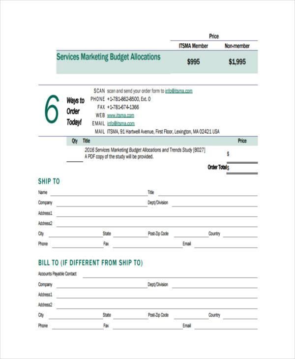 marketing budget allocations form