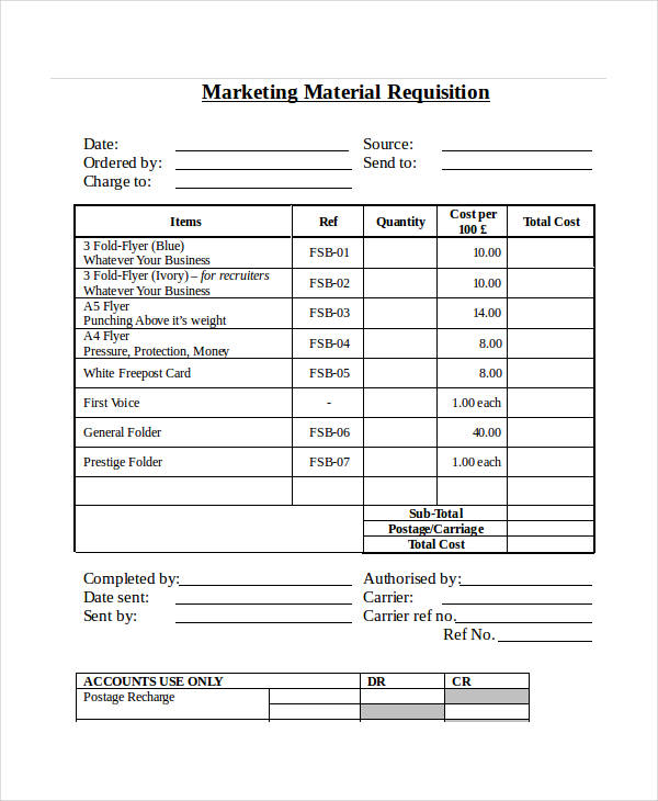 marketing material requisition form in doc