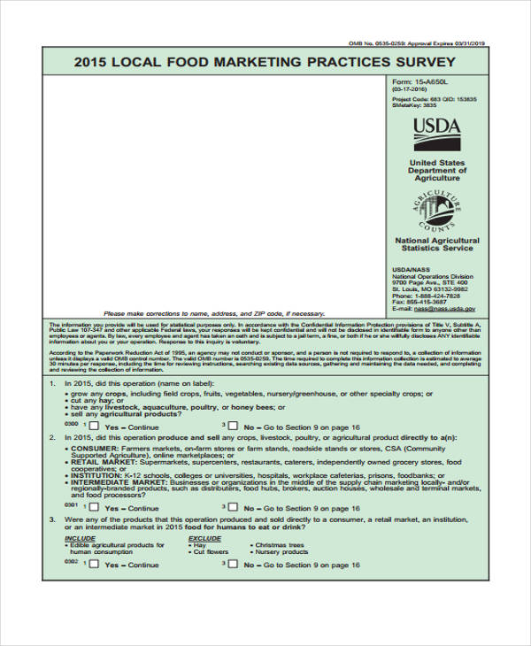 marketing practices survey form1