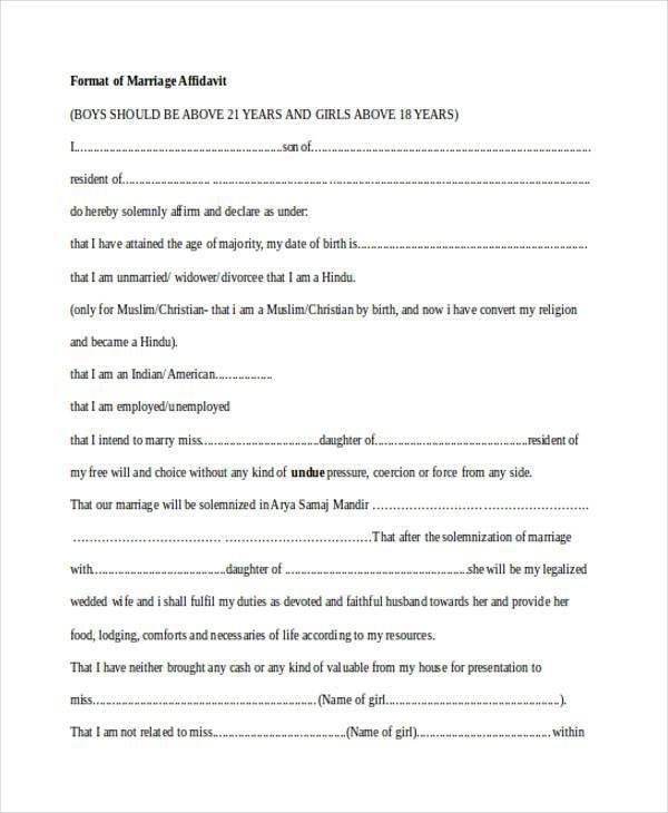 marriage affidavit form example