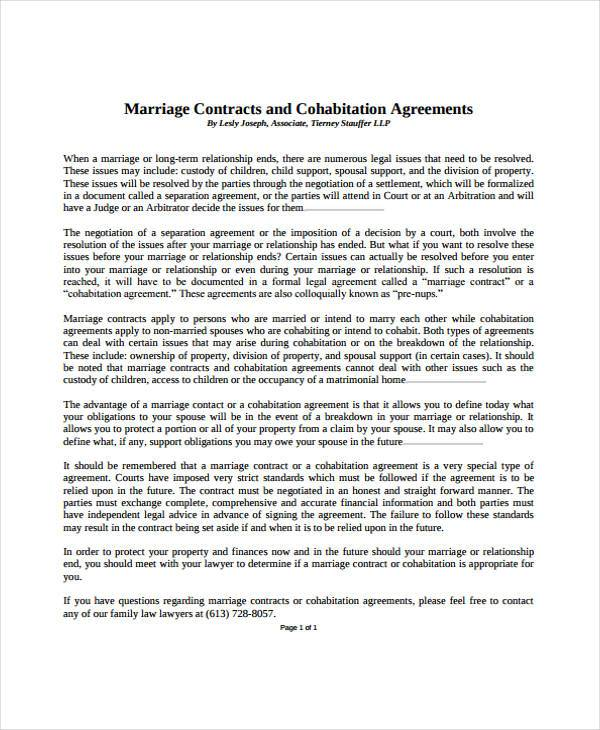 marriage contract cohabitation agreement
