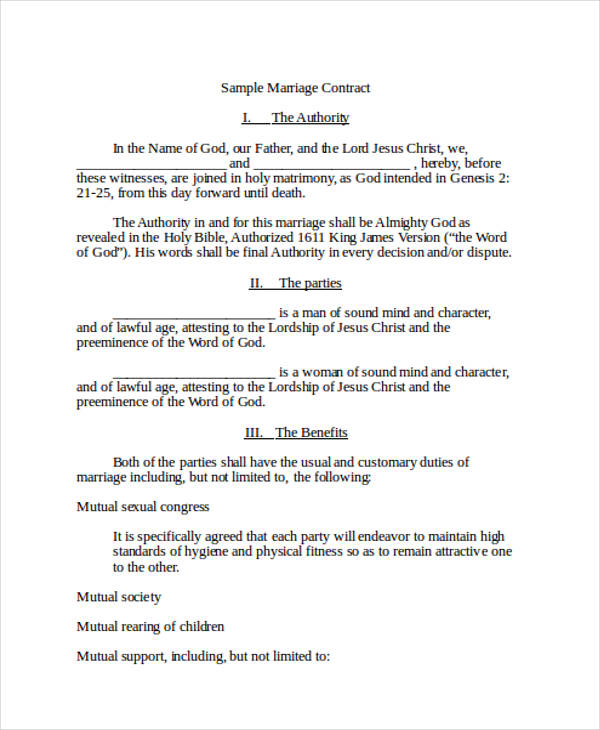 marriage contract document