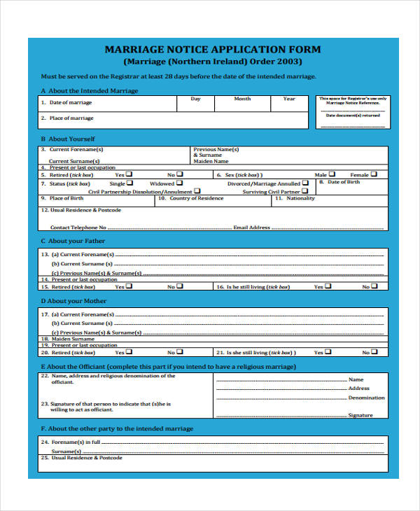 marriage notice application form