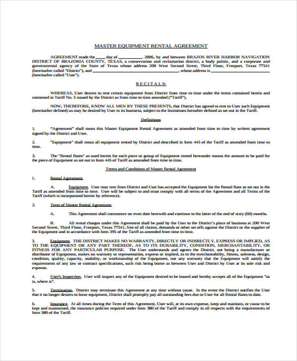master equipment rental agreement form1