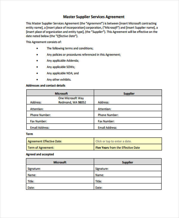 master supplier services agreement form