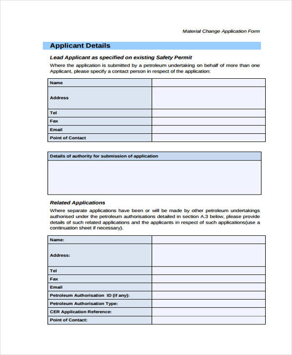material change application form