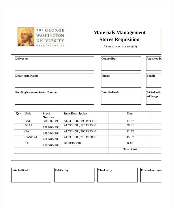 material management requisition form