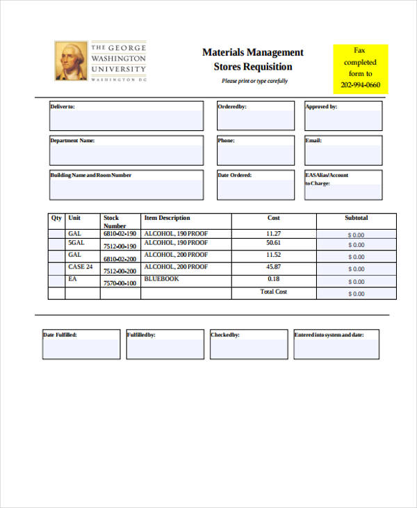 material stores requisition form
