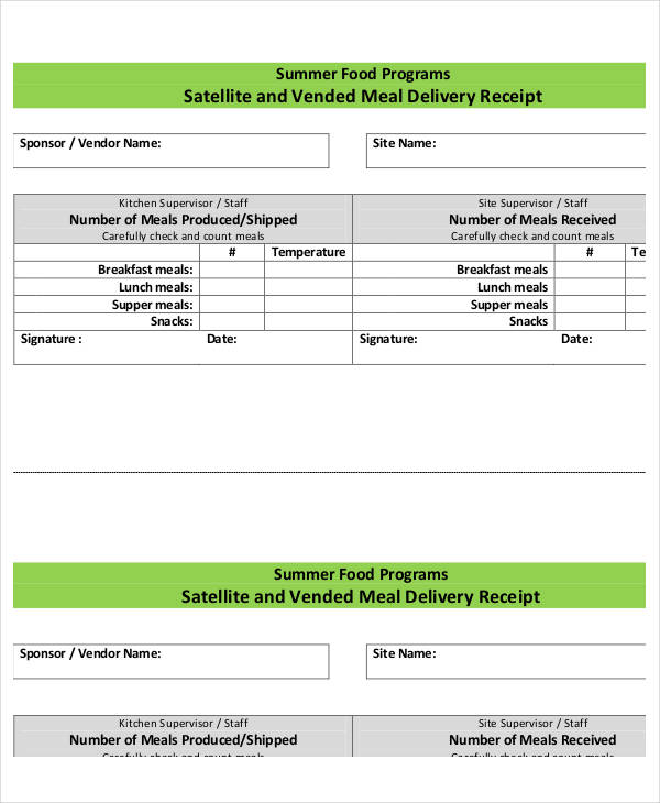 meal delivery receipt form1