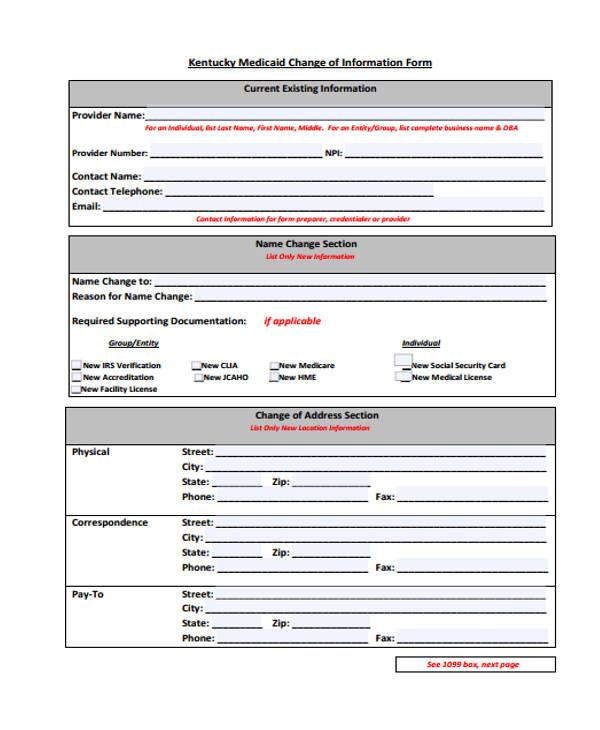 medicaid change of information form1